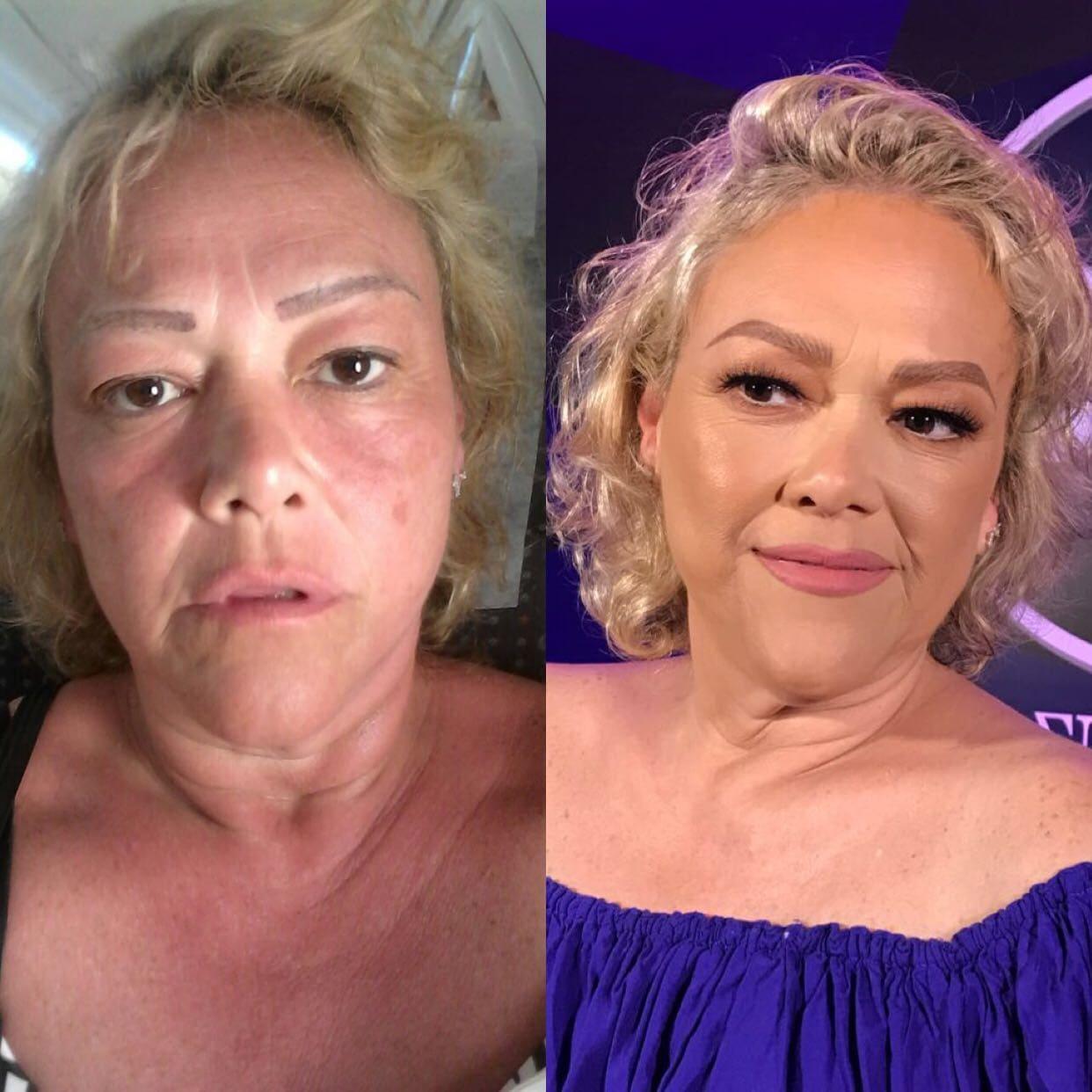Antes e depois da terceira modelo do curso.