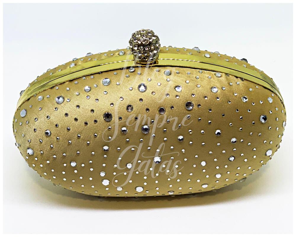 Bolsa de cetim dourado com pedras aplicadas da fantasia da Jasmine.