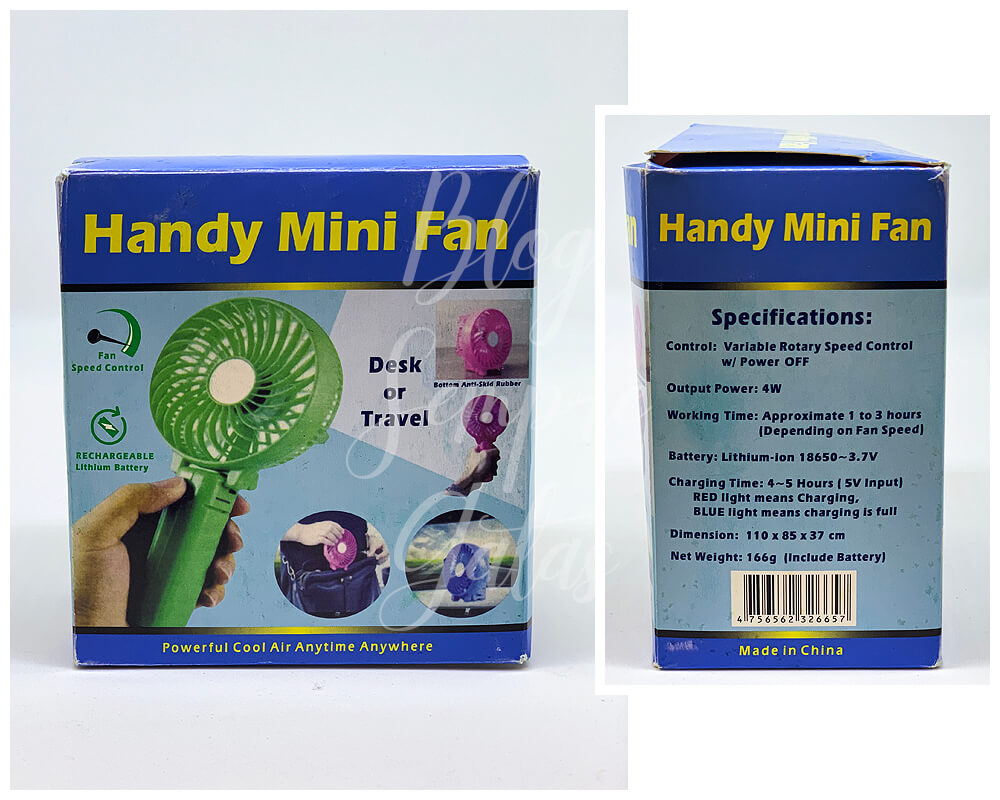 Caixas do Handy Mini Fan.