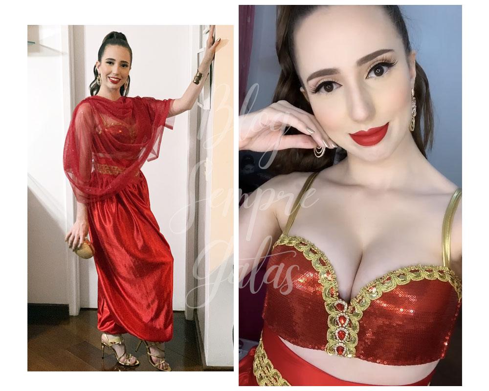 Daniela Maksoud com roupa vermelha da Jasmine.