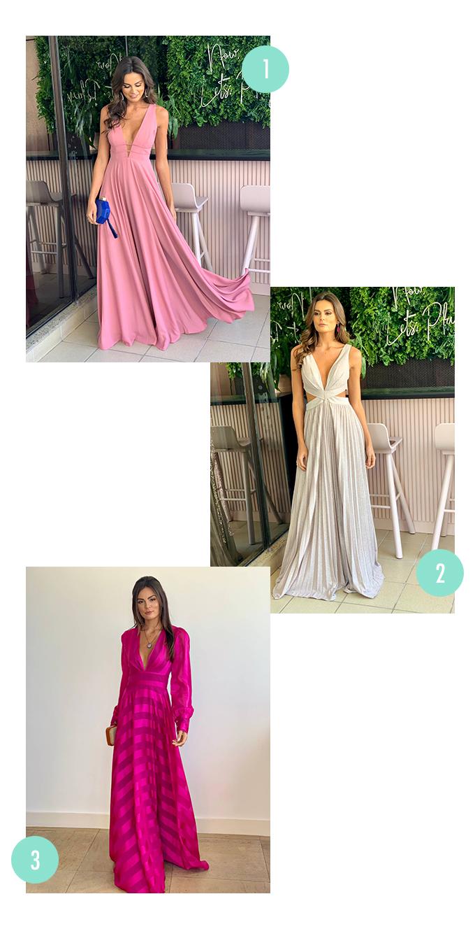 Vestidos longos da loja Party Brand. O primeiro é um vestido rosa claro esvoaçante, o segundo é um vestido longo de lurex prateado com recortes na cintura e o terceiro é um vestido longo de manga comprida rosa pink.