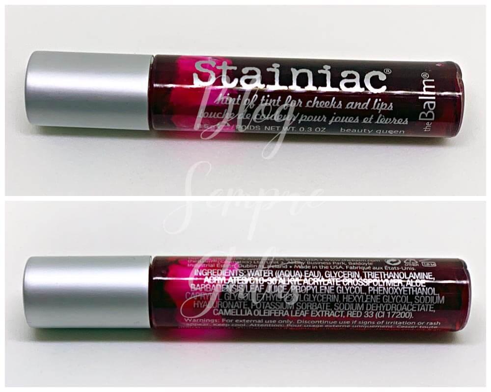 Frente e verso da embalagem do lip tint Stainiac da The Balm.