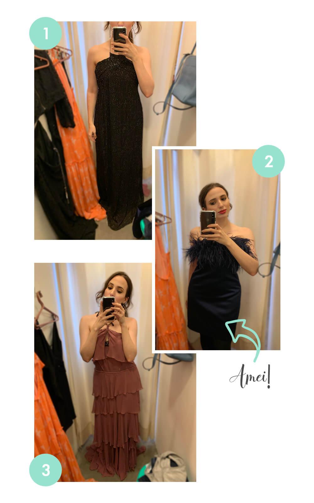 Daniela Maksoud com vestidos da loja Muda.