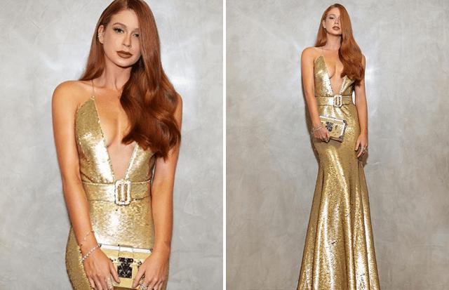 Marina Ruy Barbosa com vestido de paetê dourado.