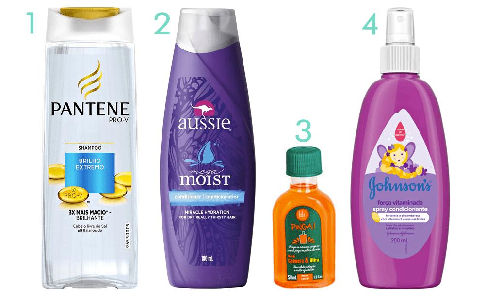Shampoo da Pantene, condicionador da Aussie, óleo capilar da Lola Cosmetics e spray da  Johnson & Johnson.